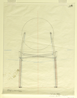 Study of chair in elevation rear view showing measured revisions for production.