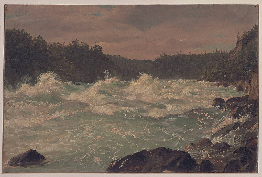Horizontal view of river, at centre, rushing in violent movement with foam and spray beyond rocks in foreground and rocky cliff at right through tree-covered river banks beneath a cloudy sky with small areas of blue.