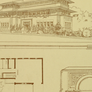 Perspective view of house along top, plan view of house on left lower 2/3, various details on right lower 2/3.