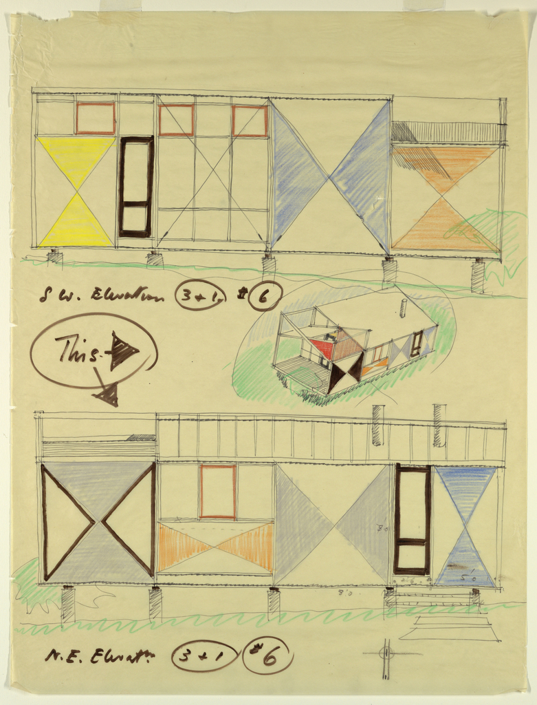 Two elevations and an isometric projection of a small building raised on piers, with sides decorated in triangular, vari-colored patter.  Measurements of certain details given.