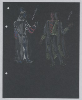 Costume design for Roderigo for Shakespeare's Othello. Two standing figures, one seen from the front, the other from the back, wearing doublet and hose, with a long cloak with slashed sides.At the left edge of the page, three holes for loose-leaf binder.