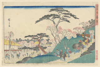 This spring scene shows a traditional spring weekend of people enjoying the cherry blossoms and visiting a temple. Visitors meander through the gardens, up slopes, and around a Buddhist temple. Other people are shown leisurely strolling along and taking in the natural landscape. Hiroshige balances the scene with his architecture landscape, contrasting colors that are evenly dispersed.