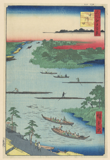 This is a lively depiction of daily life on the traditional highway of Edo. In the foreground are two thatched-rowboats near the banks of the canal, most likely carrying precious cargo such as salt, which was a commodity that was produced not too far from this location. Above are three raftsmen transporting loads of timber, which was the primary building material of Japan during this time. Just above the horizon are two boats transporting passengers. Way off in the distance are fishermen, hoping for a good catch.