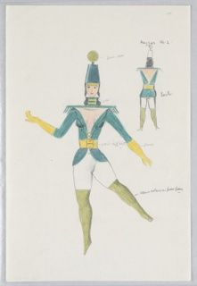 """Costume design for Huzzar in """"Dashing Blades"""". Dancing figure seen frontally, wearing a stylized military band uniform with epaulettes and a high-crowned cap topped by a gold ball; yellow gloves.A smaller version of the figure is drawn from the back in the upper right corner. Various color notations."""