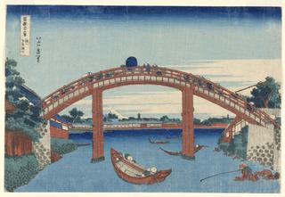 Woodblock Print, Under Mannen Bridge at Fukagawa,(Fukagawa Manne-bashi no shita)  from Thirty-Six Views of Fuji