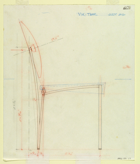 Study of chair in elevation showing measured revisions for production.