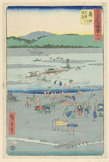 Men are carrying cargo from the nearest side of the riverbank. Some men balance luggage on their heads while others work together and balance the weight of larger containers among them.
