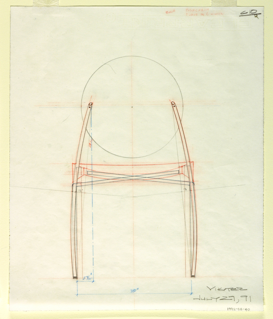 Study of chair in elevation view showing calculations for distance between legs.