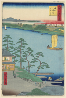 Dividing the print in half is the river that holds two ships sailing downstream. On the bottom left side shows a rest stop, probably along the Tokaido. Here soldiers can rest along and regain their strength with tea or sustenance. Along the Tokaido are 53 stops. It would take on average two weeks for military men to travel to and from Edo. This depiction does not appear to be busy.
