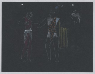 "Costume design studies for Ariel of Shakespeare's ""The Tempest"". Two standing figures in classical (minoan-type) garb, and a head in profile, inscribed ""wig."" On verso, a standing figure in loosely-fitting toga, inscribed ""Ariel,"" and above, a stage set in cubistic arrangement. Two holes, upper edge, for a loose-leaf binder."