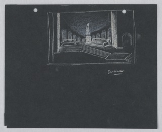 Stage design for the garden in Act II, Scene 2 of Shakespeare's Othello. At center, a figure-like statue on a round plinth is situated between two benches The garden is surrounded by a circular loggia. At the top edge of the paper, two holes for loose-leaf binder. On verso, bedroom scene (Act IV, Scene 2).