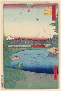 The scenic view of the moat around the imperial palace shows kites flying in the air. Either side of the print are two kites; one is decorated with a bamboo shoot while the other had a portrait of a woman. Perhaps this is a new years print since Mount Fuji is entirely covered with snow.