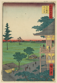 This delicate pavilion resembles that of Kinkaku-ji, with its brilliant gold exterior and meticulous architectural details. However, the likeliness of this reference is ill-fitted due to the landscape below. This pathway displays a prominent set of shops and storefronts, which makes this more likely a rest stop for the aristocracy. A view from the balcony overlooks the lush green landscape.