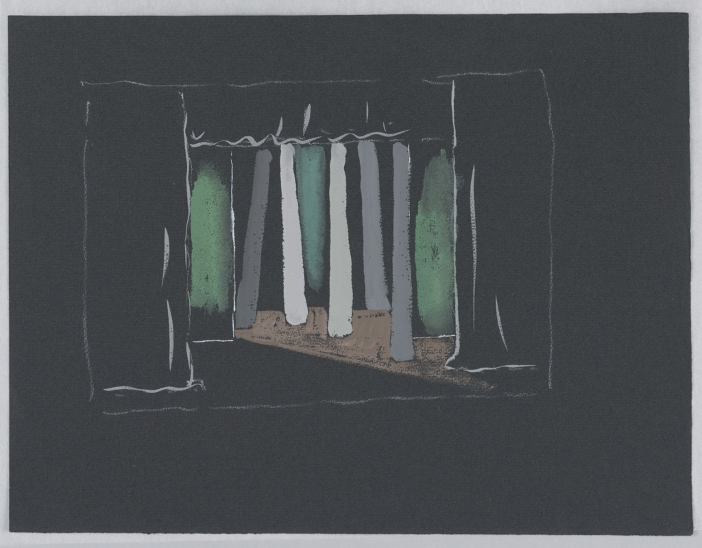 """Drawing, Stage Design: Act II, Scene 1, for """"The Tempest"""""""