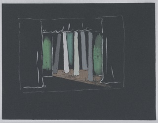 "Stage design for Shakespeare's ""The Tempest"". Set depicts a view of some woods, abstractly rendered, with gray trees against a green ground."