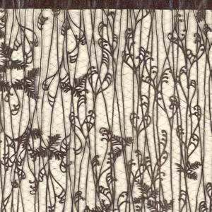 Motif of paired bracken and hemlock twigs.