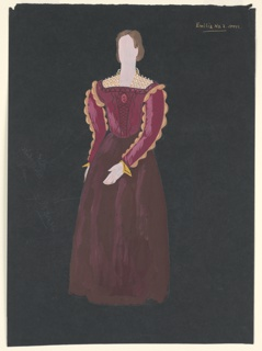 "Costume design for Emilia of Shakespeare's ""Othello"". A standing figure with a brown up-do hairstyle wears a burgundy gown with full skirt, gold scalloped edges on sleeves, and a gold trellis-like collar. The figure is depicted frontally with her left arm swung across her body in the front to show off the sleve detailing."