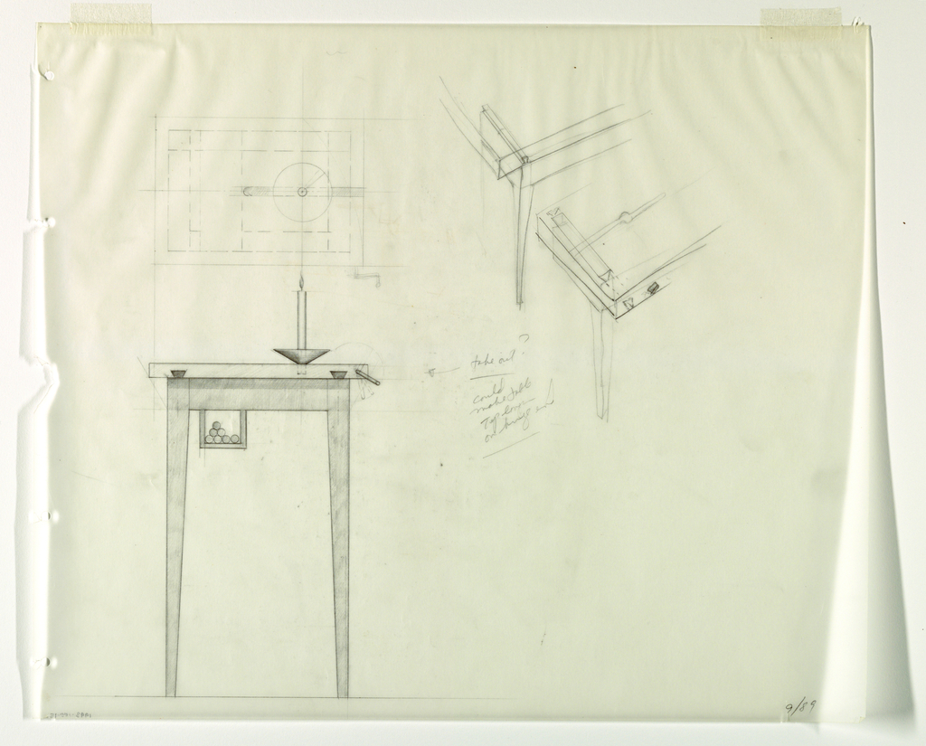 Drawing, Candela Tavola: Elevation, 1989