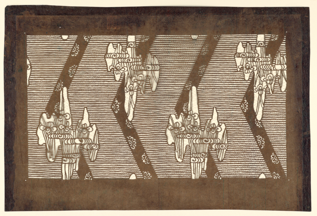 Stylized iris motifs on a horizontally striped background with four horizontally placed chevrons across the page