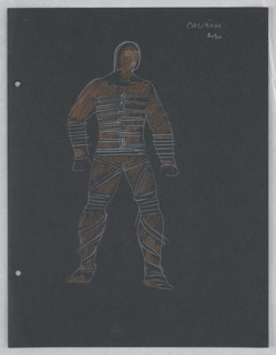 "Costume design for Caliban for Skahespeare's ""The Tempest"". At center, a standing figure colored in brown is depicted bound in ropes. On verso: two figures in semi-abstract costume."