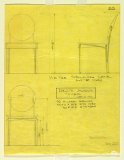 Three measured elevations for chair with round seat back.