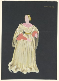 "Costume design for Desdemona of Shakespeare's ""Othello"". At center: a female figure with golden hair in up-do and pearled tiara wearing a light yellow, floor-length gown cinched at the waist by gold belt, with red sleeves and pink collar."