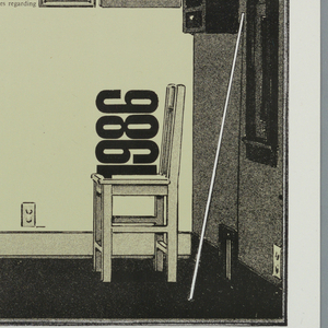 Poster with image, text printed in black, gray, cream inks.  Image of a room as if contained within a box: door at left, window at center.   Within room are  two chairs, one with the year sitting on top, and a table.  Four lines of text imprinted at angles along right side of sheet.