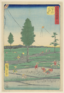 Women working in the rice paddles stop and admire the kites flying in the air. These kites, flown by playful children in the background, are somewhat similar to the original kites that were flown years ago. During the mid-eighteenth century, kites carried samurai who flew over buildings to spy on the enemy.
