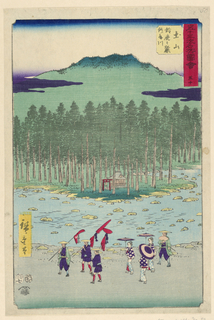 A procession of seven people walk by a shrine buried in the forest. Between them is a rocky river. Three men in front are carrying a red banner, followed by three women carrying matching parasols. The last man is holding a folding fan.