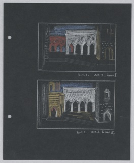 Two stage designs are depicted on the same page for Act 1, Scenes 1 and 2 of Shakespeare's Othello. Each stage design is depicted enclosed by a white, rectangular bounding box, and shows variations on a street scene in Venice. Each scene's set features a white loggia in the center of the stage, flanked on either side by other buildings and architectural features. In front of the white loggia is a plaza with four steps leading downstage. In the set design of Scene 1, a second, red loggia is upstage, stage right from the central white one. In set of Scene 2, the central whie loggia is flanked by a yellow building on stage right, and a white building on stage left. Two holes, left, for loose-leaf binder.