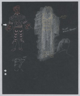 "In upper left: standing male figure in elaborate, slashed, puffed sleaves, and tights drawn in outline. To the right, a second costumed figure is rubbed out in white crayon. On the right side of the page, and below the Right, ""Othello's"" costume, rubbed out and details of headdresses. Three holes, left, for loose-leaf binder."