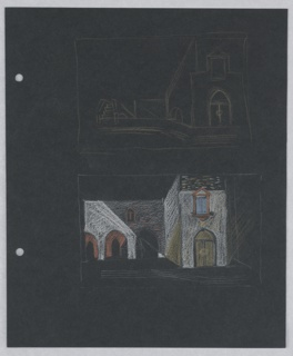 Two studies for the stage design of Act IV, Scene 1 for Shakespeare's Othello. At top, a street scene rendered in outlines with a bridge on the left and a building to the right drawing in yellow crayon. At bottom, a square with a loggia to the left and the same building as in the design above, drawn in colored crayon. At the left edge of the paper, two holes for loose-leaf binder.