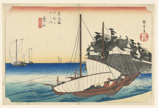 Right, two sailing boats with sails partly lowered, entering inlet on farther side of which is Kuwana Castle. Left, other sailing boats out at sea.