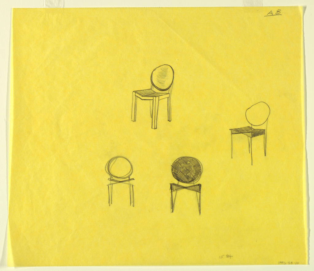 Four studies for chairs with round backs.