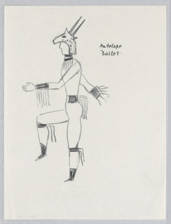 """Costume design for the Antelope Ballet of """"Dashing Blades"""" Dancing figure depicted in black outline seen in left profile wearing a necklace, cuffs, a belt, and garters trimmed with streamers and a headdress composed of an antelope's head."""