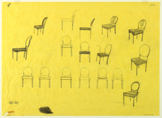 Seventeen studies for chairs with round backs shown in elevation and oblique view.