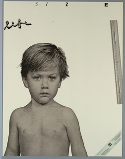 """Poster with photo lithograph life-size image of young boy (head and torso).  Upper right quadrant, photo lithograph of ruler. Across upper left quadrant, """"life"""" in script, shaped out of twine. Across upper sheet, """"SIZE"""",  letters getting thinner from """"s"""" to """"e"""". Text band across lower right corner, black text on gray. Printed in multicolored inks including  black, gray, blue."""