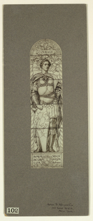Photograph of a decoration: a Classical soldier wearing robe, holding shield and sword; above, text: COVRAGE; below: IN MEM ORY OF / JACOB DOLSON / COX 1828-1900.