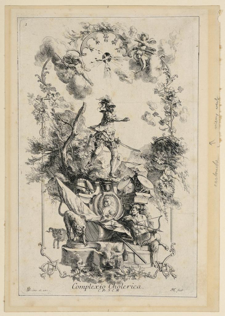 """The decoration refers to war, wild animals, a satyr. Caption: monogram """"JGB inv. Et exc. / Conplexio Cholerica / C. Pr. S. C. M.""""; monogram JH fecit.""""; left top corner """"1."""""""