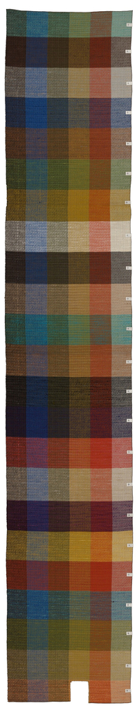 Designers 'color blanket' with 138 different color combinations created by warp stripes of white, orange, chartreuse, dark green, blue and black, each 8 inches wide, crossed by 23 colors in the weft in bands varying from 9 1/2 to 12 1/2 inches in height. using slubbed yarns