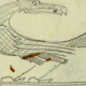 Design for signpost to be executed in iron. Upon an arrow pointing left stands a bird with an elaborately feathered tail.