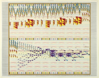 "Multicolored drawing of transcription of Wagner's ""The Magic Fire-Scene."" Based on John De Cesare's ""Theory of Visual Space in Music,"" this drawing translates musical notes for sound to ""musical notes for space"" in order to illustrate a visual dimension of music."