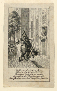 A chimney-sweep trying to blacken a boy on the street. A mother tries to prevent his doing so, from behind the door. The poem tells of a man who is blamed by the world and retalliates by speaking evil of all mankind.