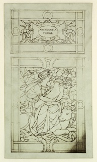 Two panels. Above in floral pattern, a cartouche that reads: ABVNDANTIA / TERRAE. Below a female figure holding a cornucopia filled with fruits and seated on a smiling cow.
