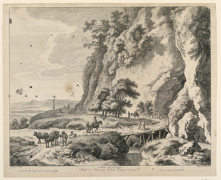 A landscape with a river and rustic bridge in center. Mountains at right. Several figures and animals on the road which runs diagonally from left to right. Cut at plate marks, except at lower margin.