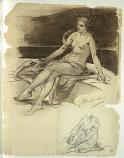 A girl sits upon the inside rim of a basin with one foot in the water. She gestures to a swan. A sketch of the figure in an alternate position appears below.