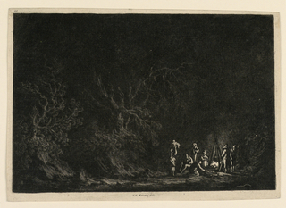 A forest landscape at night. Campers around a fire at right foreground. Cut within plate mark.