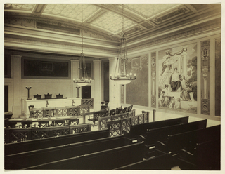 Record photograph (by De W.C. Ward, New York) of courthouse interior showing Kenyon Cox's mural on site.