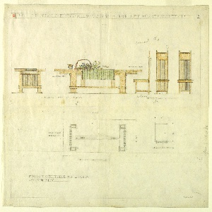 Sheet divided into upper and lower sections. In upper part, from left to right: elevation views of table, one from side and other from front. A green cloth, floral arrangement, and bowl sit atop table. Elevation views from side, back and front of slatted, high-backed side chair cushions. Lower part shows plan of table and side chair.