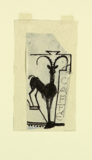 """Signpost for a cafe restaurant, intended to be executed in ironwork, with the word """"CAFFE"""" written vertically along the sign's right edge. At left, a figure of a mountain goat."""